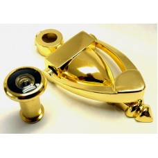 "4"" x 2"" Bright Brass Finish - Door Knocker With 160 Degree Viewer"
