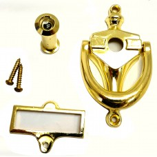 """4"""" x 2"""" Bright Brass Finish - Door Knocker With 160 Degree Viewer and Name Plate"""
