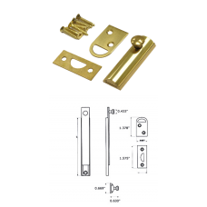 """2"""" Solid Brass Surface Bolt in Bright Brass"""