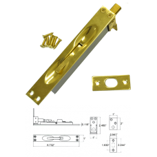 Solid Brass Flush Bolt in Bright Brass ( for wood doors )