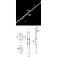 "36"" Solid Brass Heavy Duty Surface Bolt in Satin Nickel"