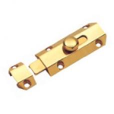 """4"""" Solid Brass Door Bolt Bright Brass"""