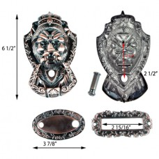 Antique Bronze Finish - Lion Head Door Knocker With 160 Degree Door Viewer and Name Plate