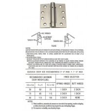 "4"" x 4"" Steel Hinge with Spring Satin Nickel Finish"
