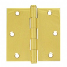 """3.5""""x3.5""""x2.0mm Square Corner Residential Bright Brass Finish Solid Brass Hinges"""