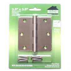 "3.5""x3.5""x2.0mm 1/4"" Radius Corner Satin NIckel Finish Solid Brass Hinges"
