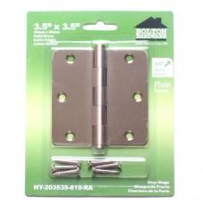 """3.5""""x3.5""""x2.0mm 1/4"""" Radius Corner Satin NIckel Finish Solid Brass Hinges"""