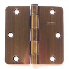 "3.5"" x 3.5""x2.2mm Residential Antique Brass Finish 1/4"" Radius Steel Hinge"