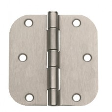 "3.5"" x 3.5""x2.2mm Residential Satin Nickel Finish Steel Hinge 5/8"" Radius"