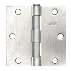 "3.5"" x 3.5"" x 2.2 mm Square Corner Satin Nickel Steel Hinge"