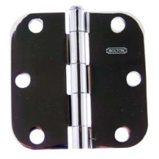 "3.5""x3.5""x2.2mm 5/8"" Radius Bright Polished Chrome Finish Steel Hinge"