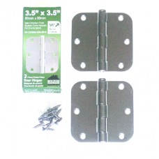 "3.5"" x 3.5""x2.2mm Residential Steel Hinge Satin Chrome Finish 5/8"" Radius ONLY 1 HINGE"