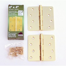 "4"" x 4""x2.2mm Residential Lifetime Brass Finish Steel Hinges 1/4"" Radius"