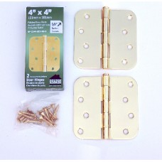 """4"""" x 4""""x2.2mm Residential Lifetime Brass Finish Steel Hinges 5/8"""" Rounded Corner"""