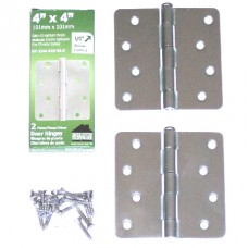 "4"" x 4""x2.2mm Residential 1/4"" Radius Satin Chrome Finish Steel Hinge"
