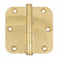 "3.5""x3.5""x2.5mm 5/8"" Radius Heavy Duty Solid Brass Bright Brass Hinges"