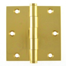 "3.5"" x 3.5"" x 2.5 mm Square Corner Heavy Duty Bright Brass Hinge"