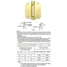 "3.5"" x 3.5"" x 2.5 mm 5/8"" Radius Satin Brass Spring Hinge Self Closing Door Hinge"