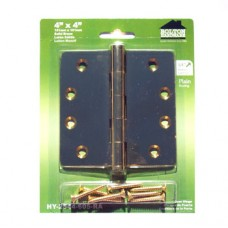 "4 inch x 4 inch x 2.5mm 1/4"" Radius Bright Brass Finish Solid Brass Hinges"