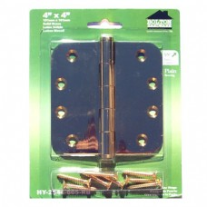 "4 inch x 4 inch x 2.5mm 5/8"" Radius Bright Brass Finish Solid Brass Hinges"