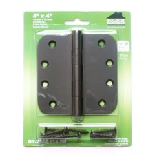 "4 inch x 4 inch x 2.5mm 5/8"" Radius Dark Oil Rubbed Bronze Finish Solid Brass Hinges"