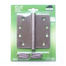 "4 inch x 4 inch x 2.5mm Solid Brass Satin Nickel Door Hinge 1/4"" Radius Corners"