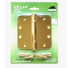 "4.5inch x 4.5inch x 2.5mm 5/8"" Radius 2 Ball Bearing Polished Brass Finish Solid Brass Hinges"