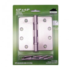 "4.5inch x 4.5inch x 2.5mm 1/4"" Radius 2 Ball Bearing Satin Nickel Solid Brass Hinges"