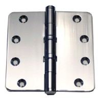 "4in x 4in x 3mm 1/4"" Radius Polished Chrome Solid Brass 2 Ball Bearing Hinge"