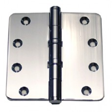 """4in x 4in x 3mm 1/4"""" Radius Polished Chrome Solid Brass 2 Ball Bearing Hinge"""