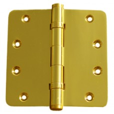 "4 x 4 x 3mm 1/4"" Radius 2 Ball Bearing Bright Brass Finish Solid Brass Hinge"