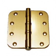 "4 x 4 x 3mm 5/8"" Radius Bright Brass Finish Solid Brass Door Hinge"