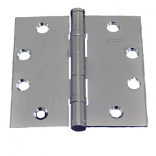 """4.5"""" x 4.5"""" x 3.3mm Bright Chrome  2 Ball Bearing Solid Brass Hinges"""