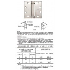 "4.5"" x 4.5""x3.4mm Heavy Duty Square Stainless Steel Self Closing Spring Hinge"