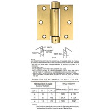 "3.5"" x 3.5"" x 2.5 mm Square Corner Satin Brass Spring Hinge Self Closing Hinge"